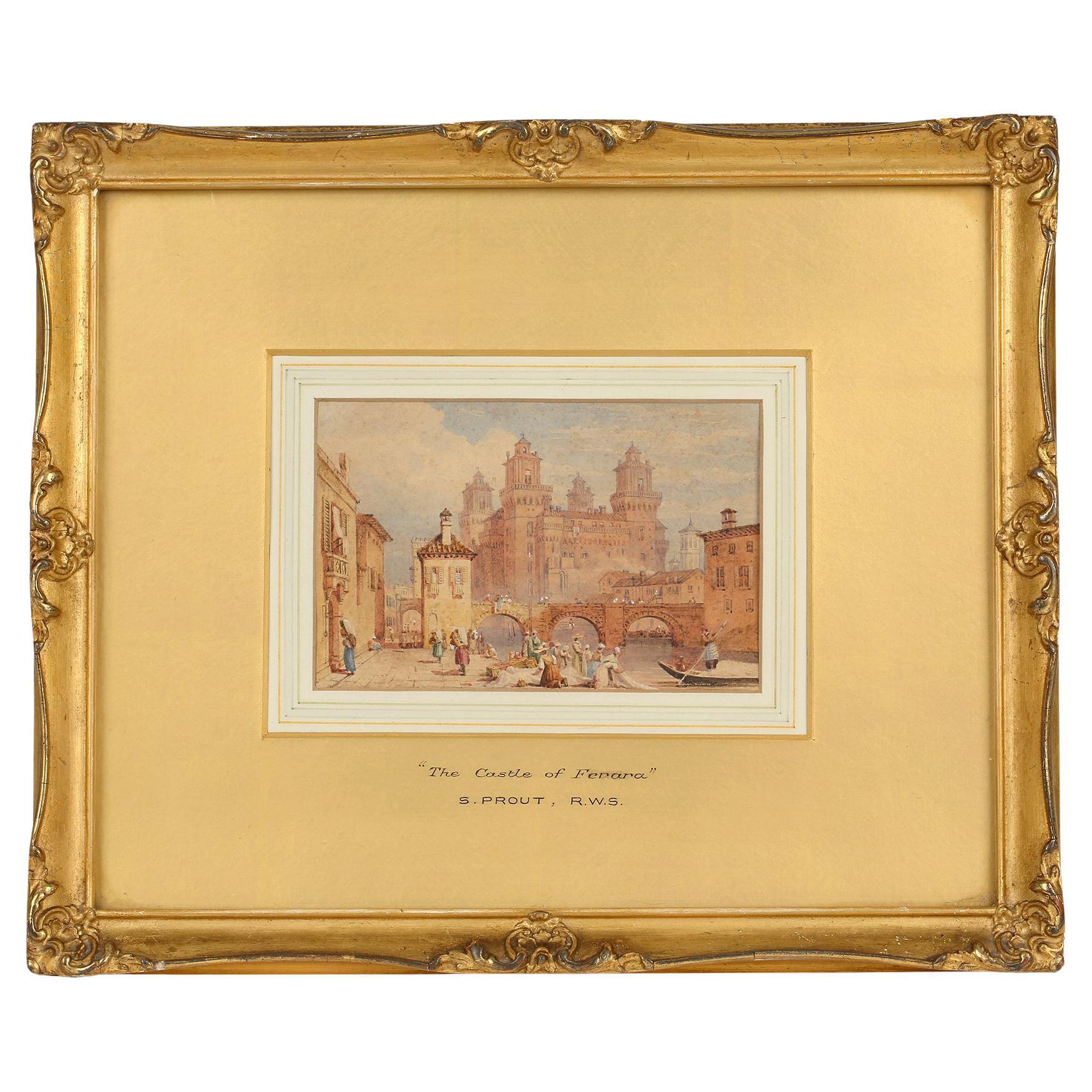 Samuel Prout RWS Framed Watercolour 'The Castle of Ferara'