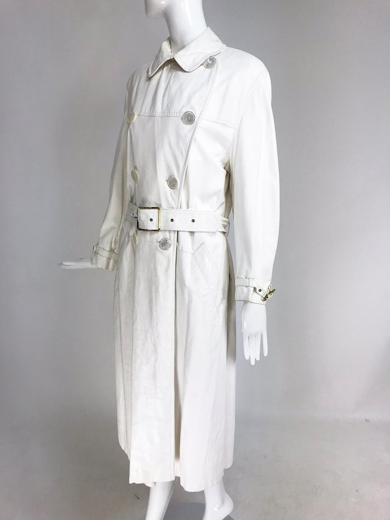 better price order online world-wide selection of Samuel Robert White Soft Leather Trench Coat 1960s
