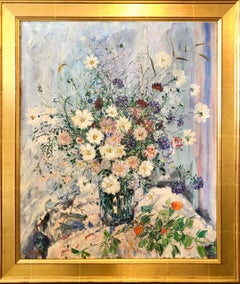 Large Folk Art Modernist Floral Bouquet Oil Painting Flowers in Vase Gilt Frame