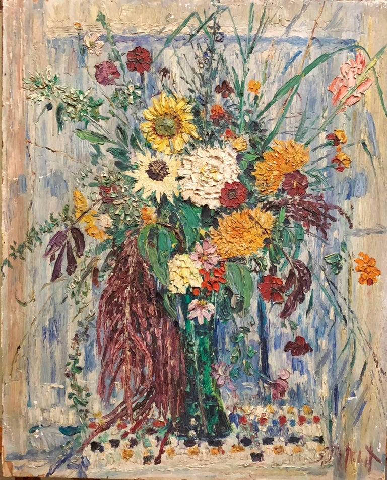Large Modernist Floral Bouquet Impasto Oil Painting of Flowers in a Vase - Brown Interior Painting by Samuel Rothbort