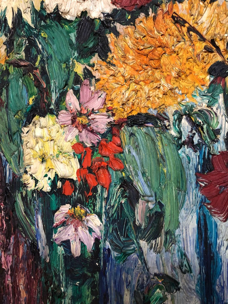 Large Modernist Floral Bouquet Impasto Oil Painting of Flowers in a Vase For Sale 1