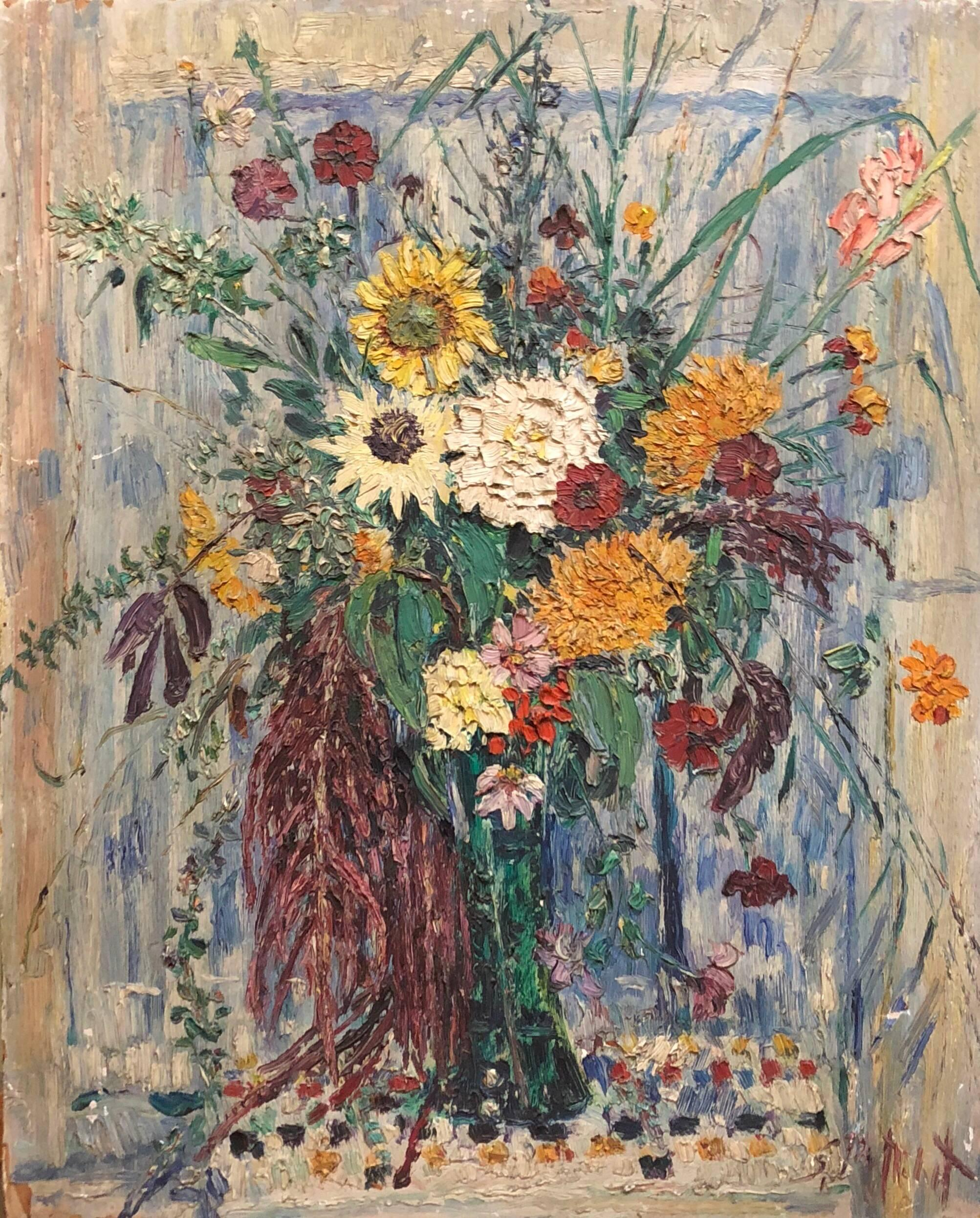 Large Modernist Floral Bouquet Impasto Oil Painting of Flowers in a Vase