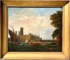 18th century British Painting - View of Westminster - London Thames Canaletto