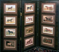 Horse 12 images  Cassell 3 Panel Screen Wood