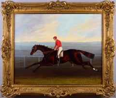 19th Century sporting horse portrait oil painting of a racehorse