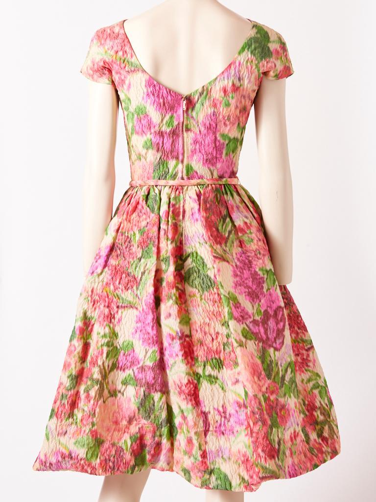 Beige Samuel Winston Floral Pattern Dress C. 1960 For Sale