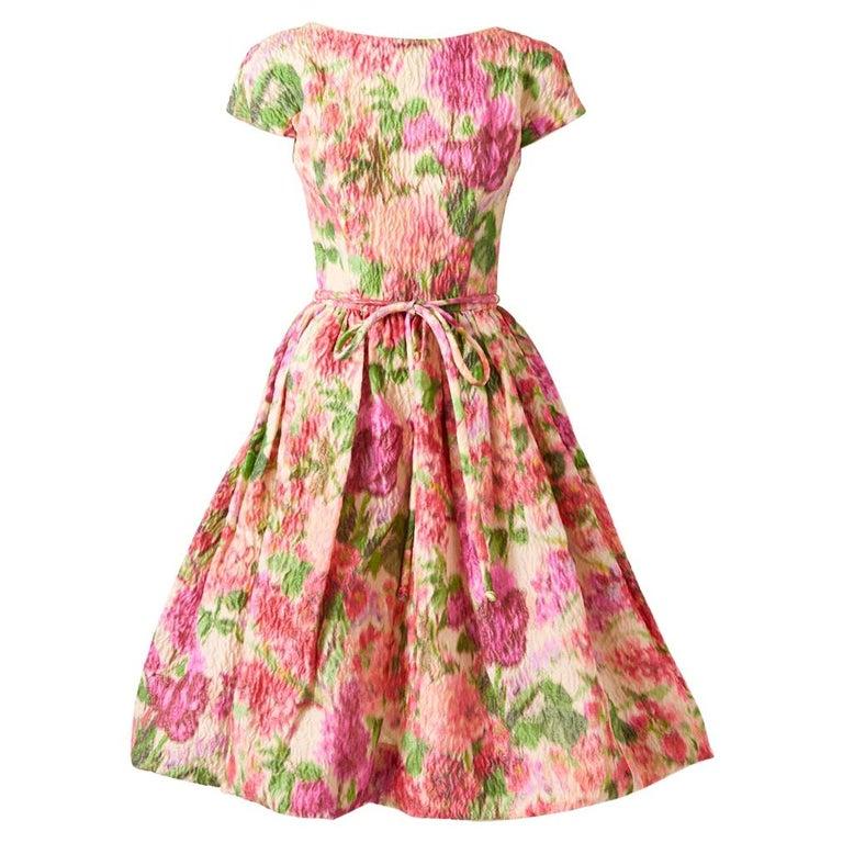 Samuel Winston Floral Pattern Dress C. 1960 For Sale