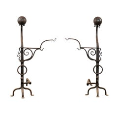 Samuel Yellin Style Pair of 20th Century Jumbo Iron Andirons with Cooking Arms