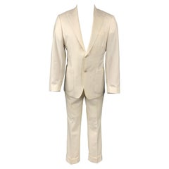 SAMUELSOHN for WILKES BASHFORD Size 38 Regular Cream Solid Wool Peak Lapel Suit