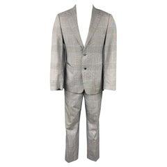 SAMUELSOHN for WILKES BASHFORD Size 38 Regular Grey & Blue Glenplaid Suit
