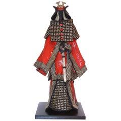 Samurai Raku Red and Silver Sculpture