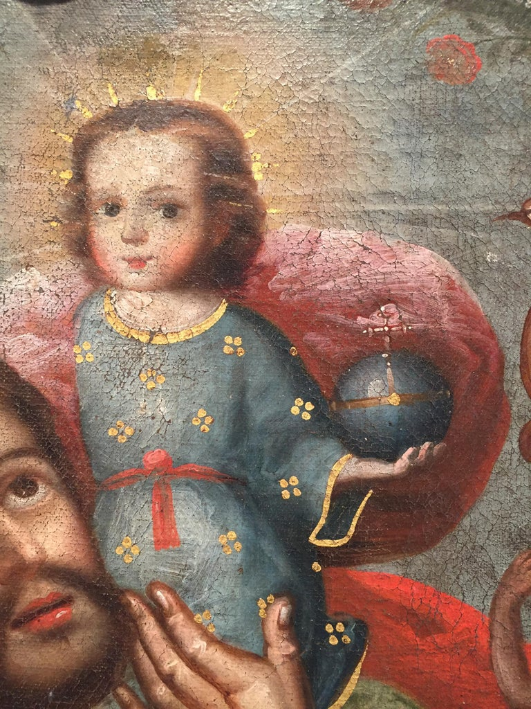 The Cuzqueño work depicts Saint Christopher carrying the Christ Child.