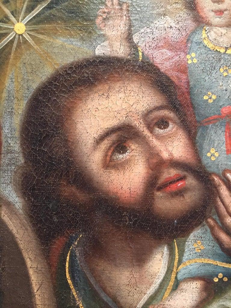 Spanish Colonial San Cristobal Con Cristo Niño For Sale