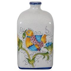 San Gimignano Italy Porcelain Hand Painted Folk Art Bird Flower Bottle Jug