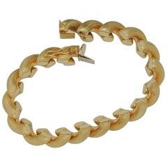 """San Marco Fancy Brushed Link Ladies """"Macaroni"""" Bracelet Yellow Gold"""