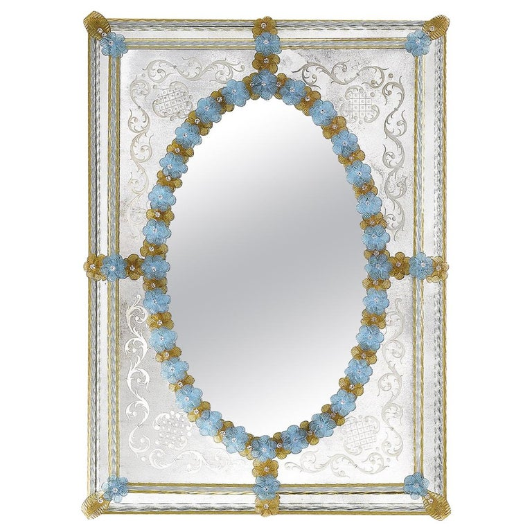 San Marco Mirror With Amber And Blue Flowers For Sale