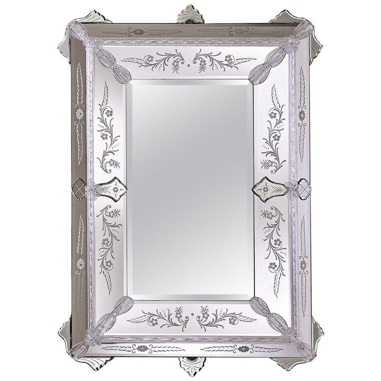San Marco Murano Glass Wall Mirror For Sale