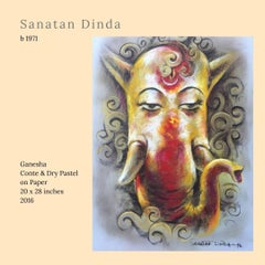 """Ganesha, God, Conte & Pastel on Paper, Red, Yellow by Indian Artist """"In Stock"""""""