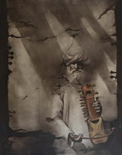 "Musician  Oil on Canvas by Contemporary Indian Artist ""In Stock"""