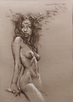 """Nude Woman, Conte on Paper, Brown, Black, Contemporary Indian Artist """"In Stock"""""""
