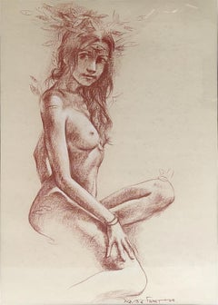 "Nude Woman, Conte on Paper, Brown by Contemporary Indian Artist ""In Stock"""