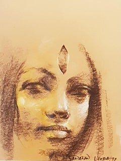 """Painting of Woman as Devi-Goddess, Third Eye, Bengal By Indian Art """"In Stock"""""""