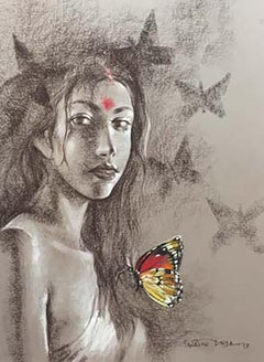 "Woman, Butterfly, Dry Pastel on paper, Brown, Red, Contemporary Artist""In Stock"""