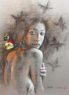 "Woman, Nude, Butterfly, Dry Pastel on paper, Brown, Red, Indian Artist""In Stock"""