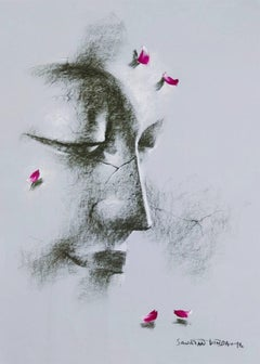 "Yugpurush, Buddha, Conte & Dry Pastel on Paper, by Indian Artist ""In Stock"""