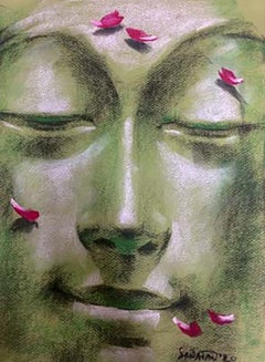 "Yugpurush, Dry Pastel on paper, Green, Pink by Contemporary Artist ""In Stock"""
