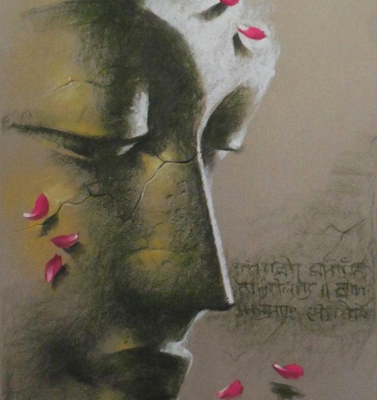 Yugpurush, Buddha, God, Pastel on Paper, Pink, Green by Indian Artist