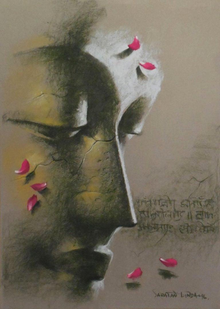 "Sanatan Dinda Figurative Painting - Yugpurush, Buddha, God, Pastel on Paper, Pink, Green by Indian Artist ""In Stock"""