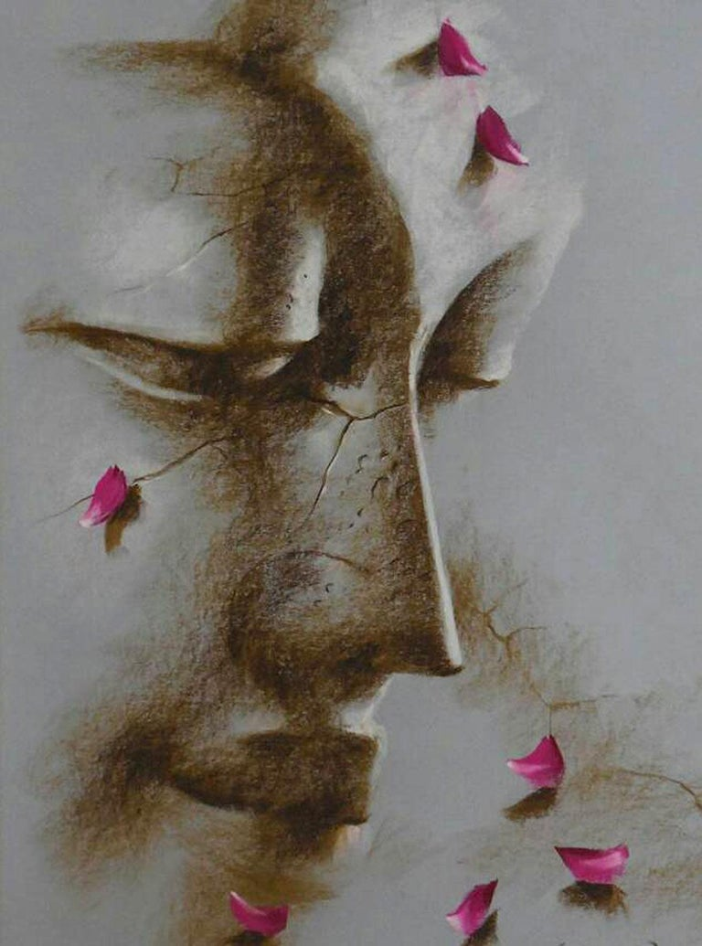 Yugpurush, Buddha, Mixed Media on Paper, Red Brown by Indian Artist