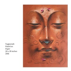 """Yugpurush, Conte & Pastel on Paper, Brown, Blue by Indian Artist """"In Stock"""""""