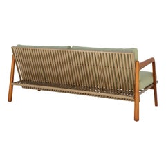 Sancho Couch Outdoor Natural Teak Wood Aluminum and Naval Rope by Hand