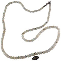 Sanct Desiderata Marquise Diamond Eye Opal Necklace in White Gold