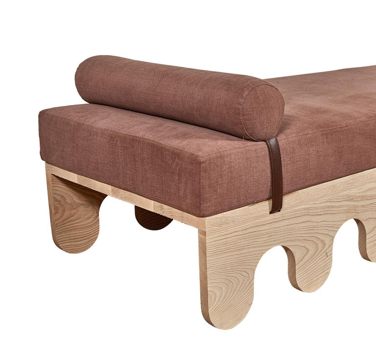 American Sand Blasted Ash with Leather Detail Steward Day Bed by Casey McCafferty For Sale