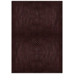 Sand Brown & Black Area Rug in Hand-Tufted Wool & Botanical Silk by Rug'Society