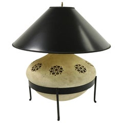 Sand Color Ceramic Table Lamp in Wrought Iron Stand