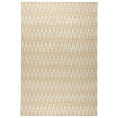 Contemporary Global Off-white and Beige Hand-knotted Wool Rug