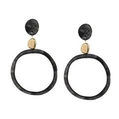 Sand Hoop Drop Resin Earrings in Black Marble