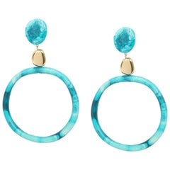Sand Hoop Drop Resin Earrings in Lagoon