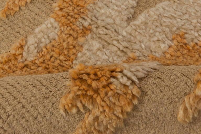 Modern Kasuri Beige, Gold & Orange Rug Size: 12'2