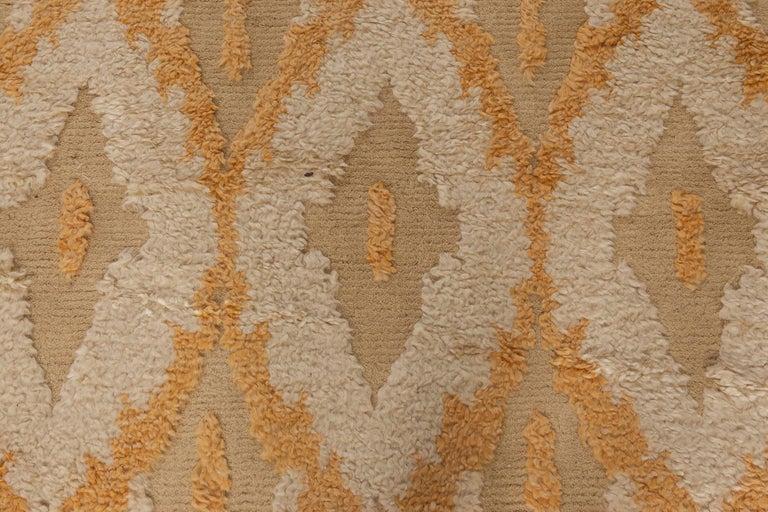 Indian Modern Kasuri Beige, Gold & Orange Rug For Sale