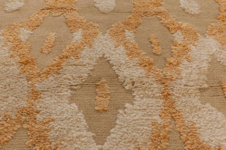Hand-Knotted Modern Kasuri Beige, Gold & Orange Rug For Sale