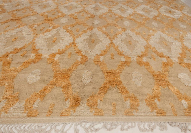 Contemporary Modern Kasuri Beige, Gold & Orange Rug For Sale