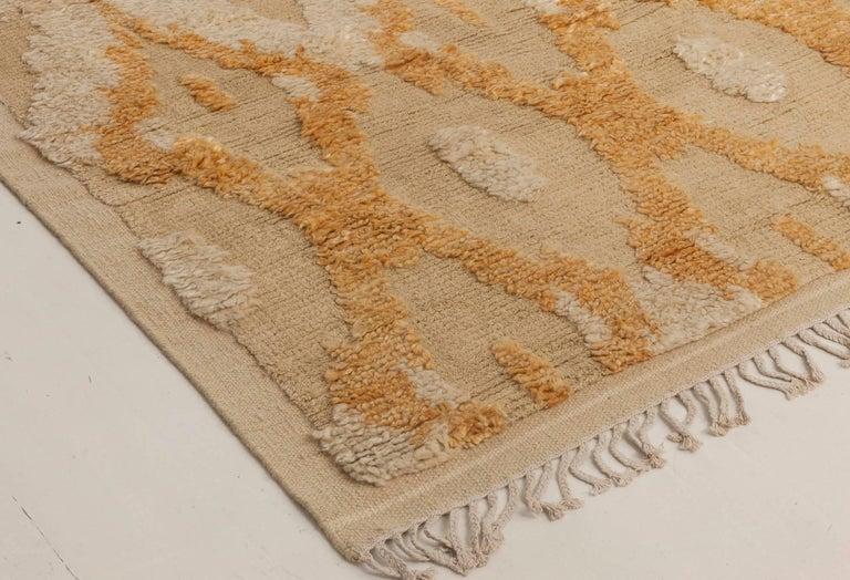 Wool Modern Kasuri Beige, Gold & Orange Rug For Sale