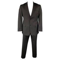 SAND Size 42 Regular Black Wool Notch Lapel Suit