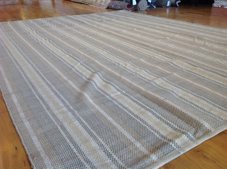 Hand-Woven Sand Stripe Indian Wool Dhurrie Rug For Sale