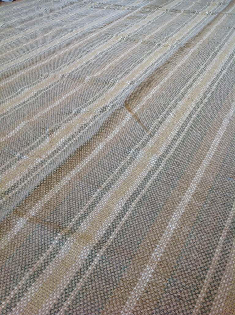 Sand Stripe Indian Wool Dhurrie Rug In New Condition For Sale In West Hollywood, CA
